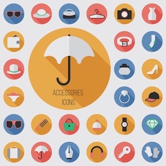 Accessories flat, digital icon set with long shadow effect for web and mobile