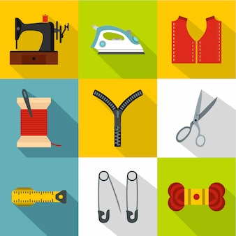 Accessories for sewing workshop icon set