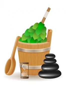 Accessories for steam bath or sauna vector illustration