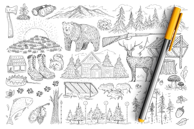 Accessories and tools of hunter doodle set. collection of hand drawn gun, forest, binoculars, wild animals, house and footprints elements of hunting isolated