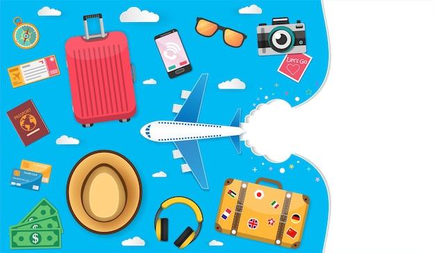 Accessories travel around the world concept.