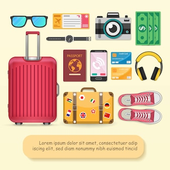 Accessories travel around the world concept.