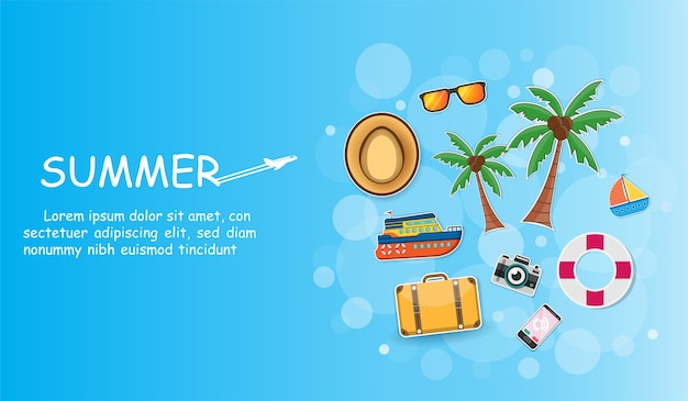 Accessories travel ship and coconut tree