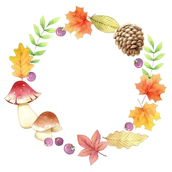 Accessory autumn circle frame watercolor