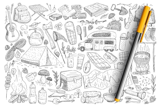 Accessory for camping doodle set. collection of hand drawn tent, guitar, bonfire, truck, bbq, backpack, sleeping bag, axe, hot drinks for traveling hiking on nature isolated