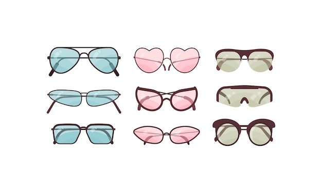 Accessory sun spectacles set collection of colorful sunglasses