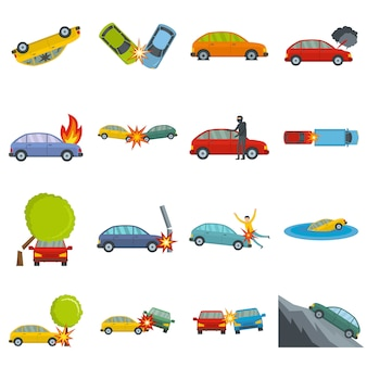 Accident car crash case icons set