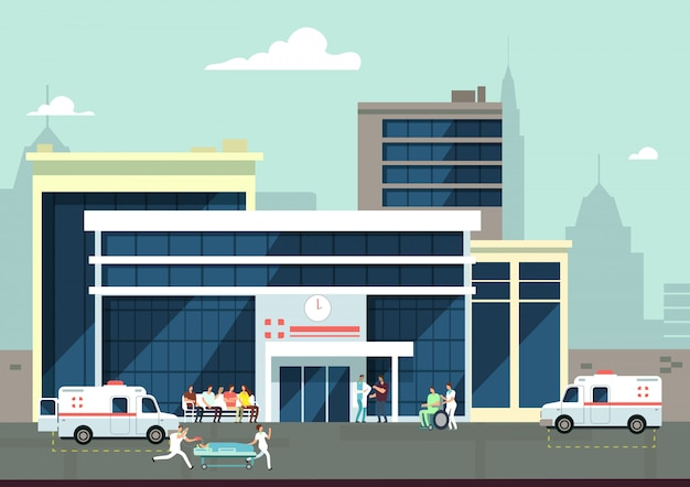 Accident and emergency hospital exterior with doctors and patients. medical vector concept