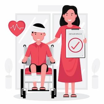 Страхование от несчастных случаев включает человека в инвалидном кресле с повязкой на голове и женщину, стоящую рядом с ним с бумажным требованием.