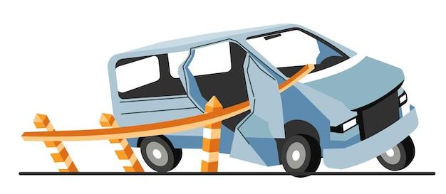 고속도로 사고, 도로 제한기와 자동차 충돌. 부서진 부품으로 손상된 자동차 운송. 운송 중 자동차 사고. 부서진 범퍼가 있는 깨진 차량, 플랫 스타일의 벡터