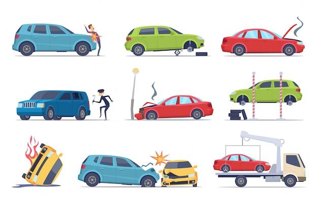 道路で事故。車が損傷した車両保険輸送theif修理サービス交通写真集