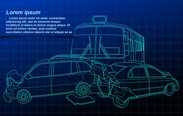 Accident outline on blueprint background.