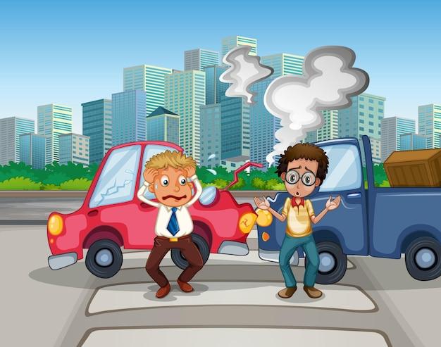 Scena dell'incidente con incidenti stradali in città