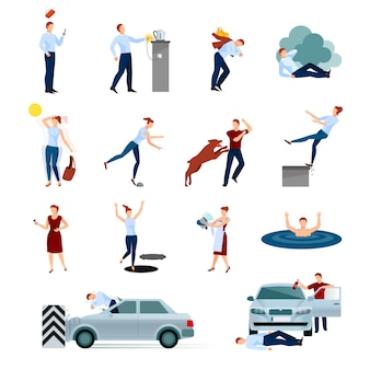 Accidents injuries dangers decorative character set with fallings poisoning bites of animals road crashes isolated vector illustration