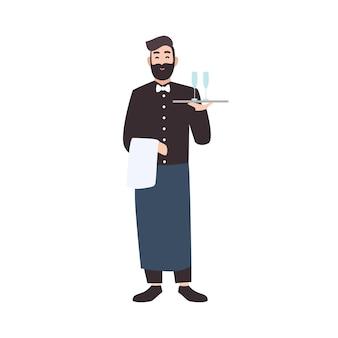ウェイター、レストランのウェイター、または飲み物付きのサーバーキャリングトレイを収容します。白い背景で隔離のかわいい男性漫画のキャラクター。フラットスタイルのカラフルなベクトルイラスト。