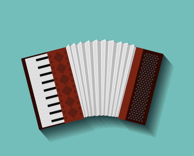 Accordion instrument isolated icon design