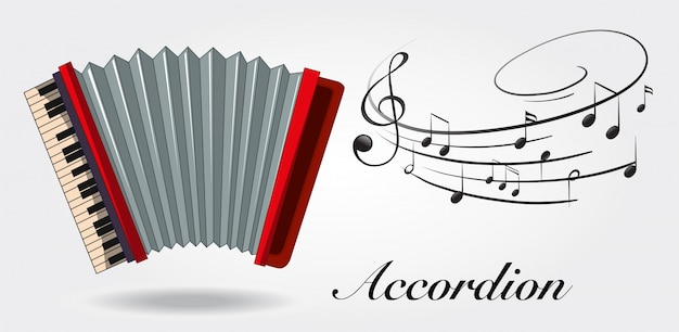 Accordion and music notes on white background