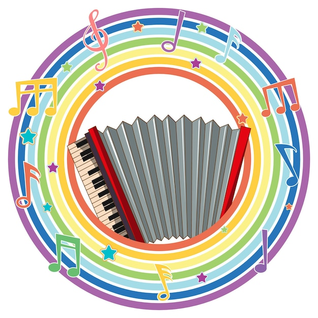 Fisarmonica in cornice rotonda arcobaleno con simboli di melodia