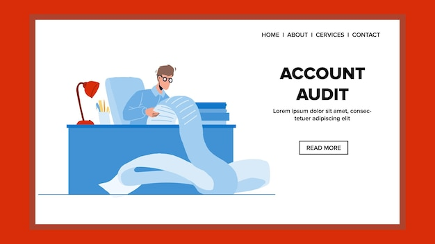 Account audit and financial examination vector. auditor reviewing account audit, businessman calculating invoices or tax. character work with finance documentation web flat cartoon illustration