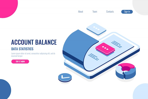 Account balance, data statistics