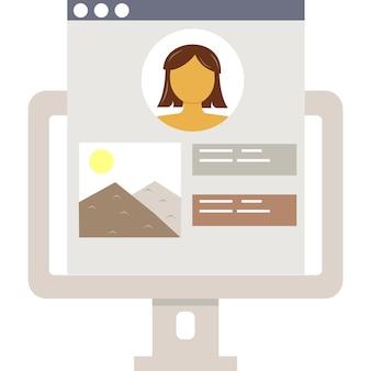 Значок учетной записи онлайн подростковый портал на векторе ноутбука