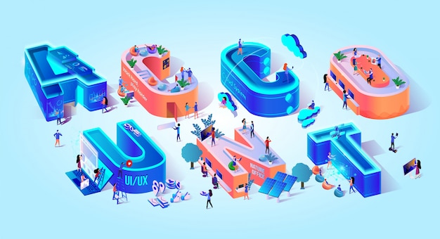 Account isometric 3d text lettering