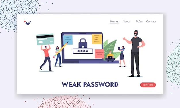 Шаблон целевой страницы защиты аккаунта. крошечные персонажи вокруг огромного ноутбука работают на компьютере со слабым паролем, счастливый грабитель, женщина с карандашом, мужчина с банковской картой. мультфильм люди векторные иллюстрации