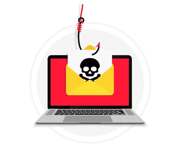 계정 도용. 물고기 후크에 이메일 봉투가 있는 노트북. 해킹 및 신원 도용. 이메일 데이터 피싱. 사기 이메일 메시지 배포, 맬웨어 확산 바이러스. 해킹 개념입니다. 스파이웨어, 멀웨어.