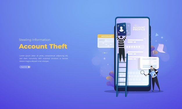 Account theft of stealing data illustration concept