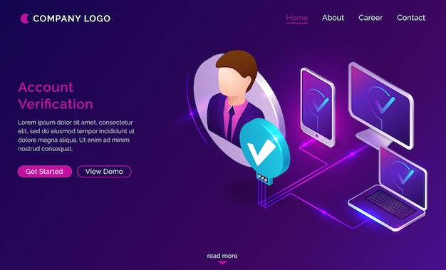 Account verification isometric landing page banner