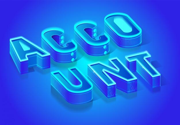Account word isometric vector typography