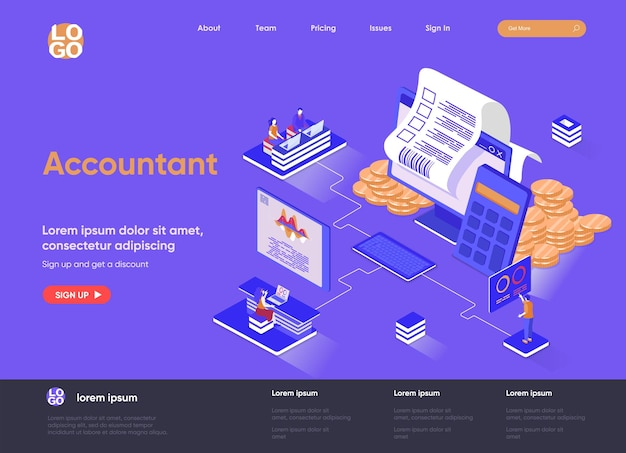 Accountant 3d isometric landing page website   illustration with people characters