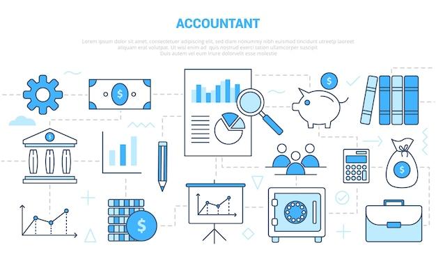 会計士のビジネスマンは、モダンな青い色のスタイルのアイコンセットテンプレートバナーでコンセプトを動作します