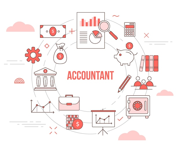 Accountant concept with icon set template banner