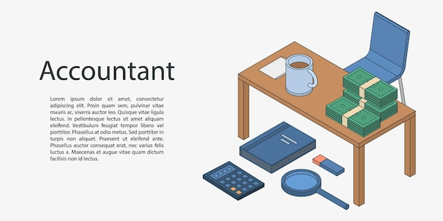 Accountant desktop concept banner, isometric style