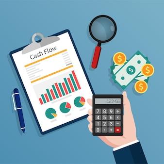 계산기를 들고 회계사는 현금 흐름 보고서 개념 그림을 확인합니다.
