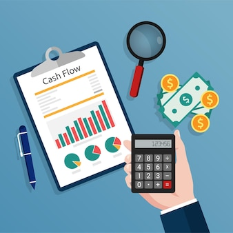 Accountant holding a calculator checks cash flow report concept illustration.