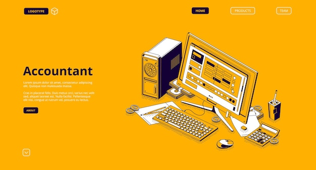 Accountant isometric landing page