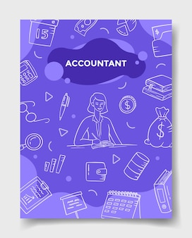 Accountant jobs career with doodle style for template of banners, flyer, books, and magazine cover