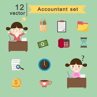 Accountant set.vector illustration