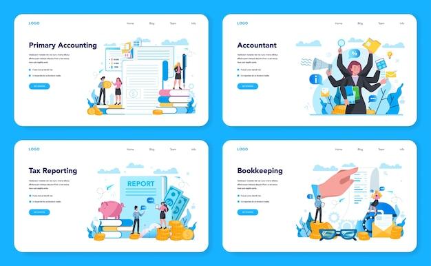 Бухгалтер веб-баннер или целевая страница. профессиональный бухгалтер. понятие налогового исчисления и финансового анализа. деловой персонаж, совершающий финансовую операцию. векторная иллюстрация