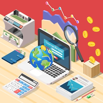 Accountant workplace isometric