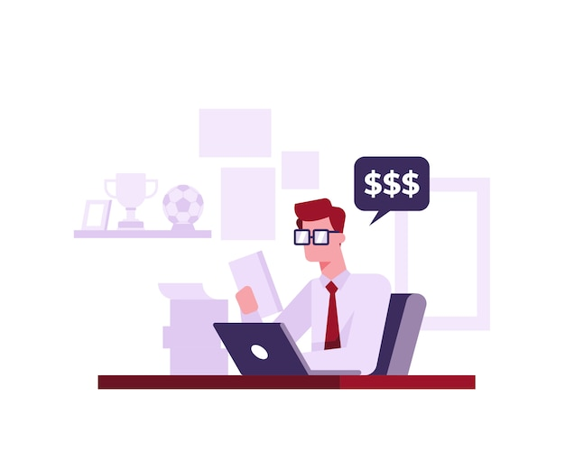 An accountant works at home illustration concept
