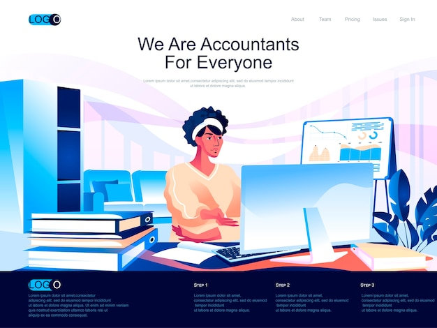 Accountants isometric landing page with flat characters situation
