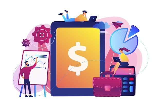 Бухгалтеры работают с программным обеспечением для финансовых операций и планшетами. бухгалтерский учет предприятия, система учета ит, концепция интеллектуальных инструментов предприятия.