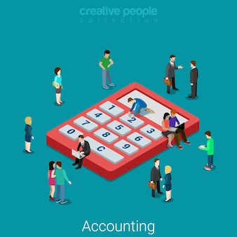 会計および財務分析。フラットアイソメトリックビジネス金融銀行ローンの概念マイクロピープルと巨大な計算機。