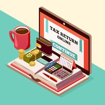 Бухгалтерский учет и налоги изометрическая композиция