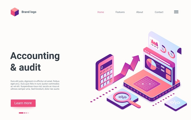 Accounting and audit, business report, corporate development isometric landing page template