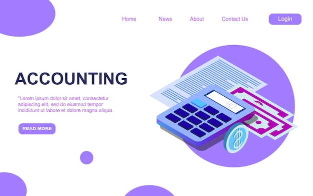 Accounting and audit isometric landing page template. financial analytics report consulting services website page design layout
