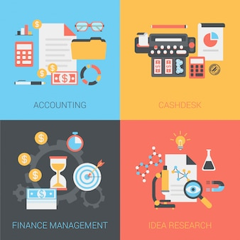 Accounting, cash box, finance management, idea research icons set.